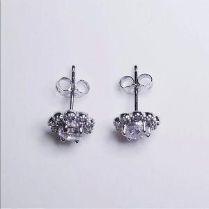 NEW 14K White Gold on 925 Floral Earrings